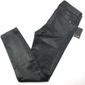 Joe's Jeans black coated stretch mid rise ankle